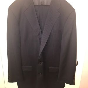 Hickey Freeman Navy Pinstripe 2 Piece Suit